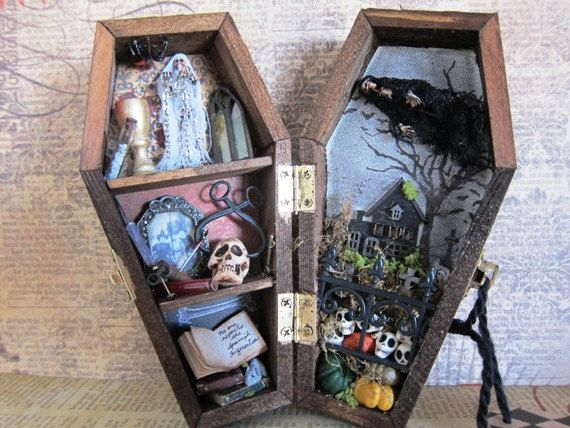 A Haunted House Miniature Coffin Shadow Box by AhtheMacabre, $50.00
