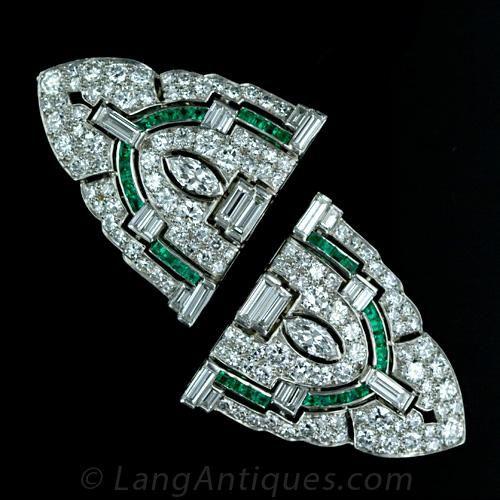 Art Deco Double Clip Diamond Brooch with Emeralds M