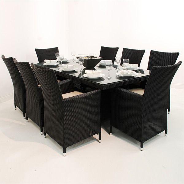 Maze Rattan LA 8 Seat Rectangular Garden Furniture Set