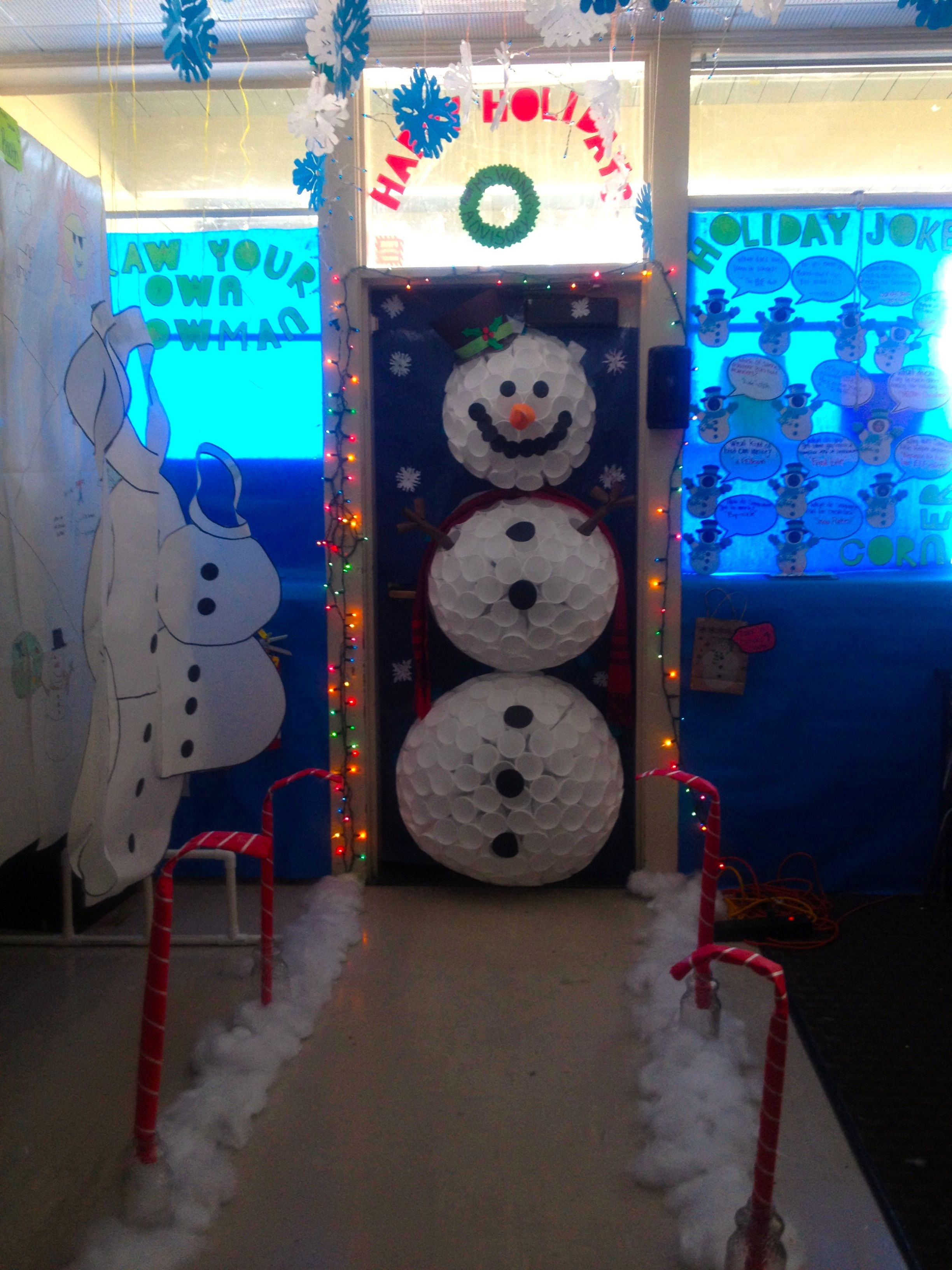 3 D Snowman Door Decoration Made Out Of Styrofoam Cups!