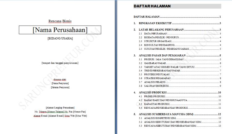 Contoh Proposal Usaha Dan Business Plan | Proposal, Nama ...