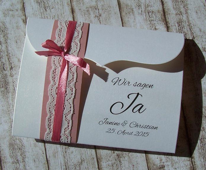 Einladung Hochzeit Vintage Spitze Altrosa/misty Rose/rostrosa