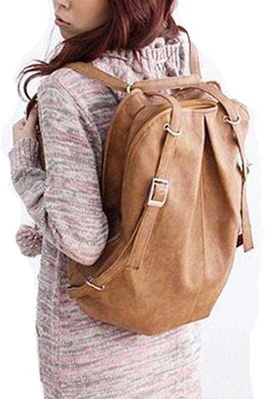 12a3bc4501 Hot Fashion Preepy Korean Style Girls  PU Leather Backpack School Bag  Vintage Shoulder Bag Khaki