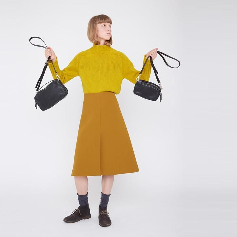 1bc45dabe132 Leila Medium Calvert Leather Crossbody Bag in Black