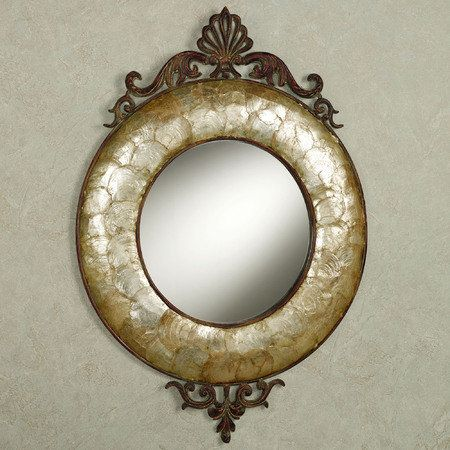 Phaidra Capiz Round Wall Mirror