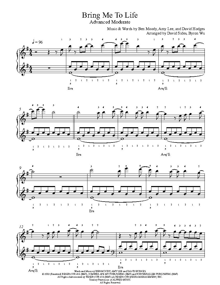 Bring me to life by evanescence piano sheet music advanced level bring me to life by evanescence piano sheet music advanced level hexwebz Choice Image