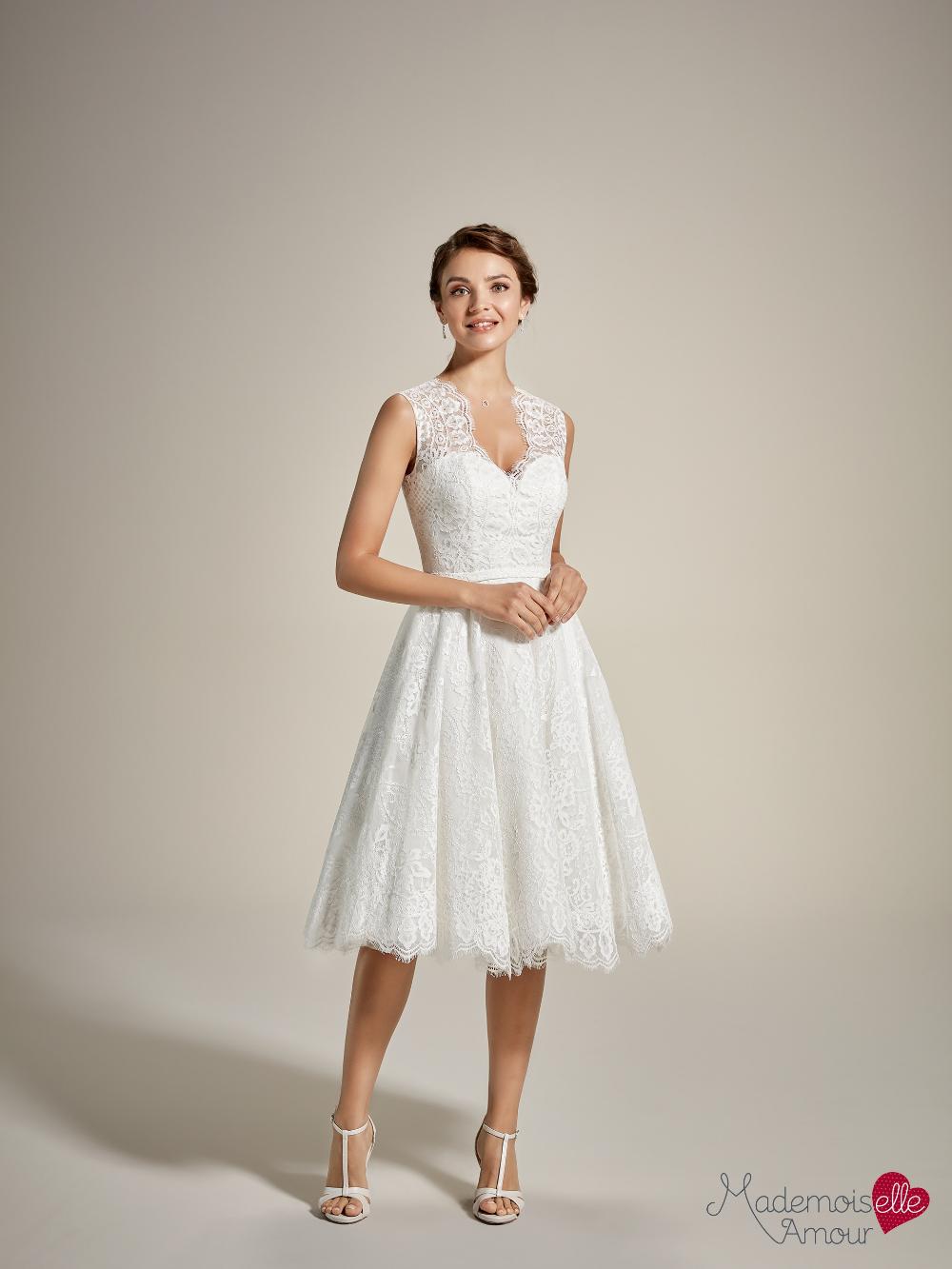 Robe de mariée courte dentelle | Melle Fleurelle