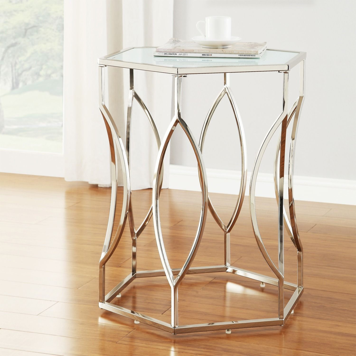 - Davlin Hexagonal Metal Frosted-glass Accent End Table By INSPIRE Q