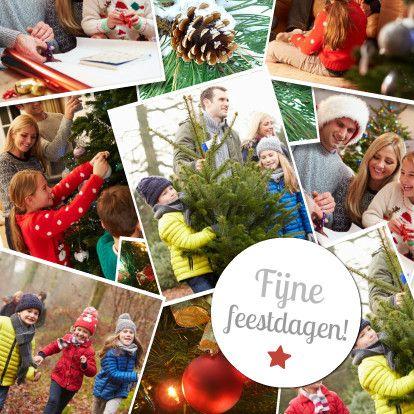 Leuke fotocollage kerstkaart met ruimte voor 9 foto's. Vervang de voorbeeldfoto's door eigen foto's en maak zo gemakkelijk je eigen fotocollage kaart.  Te vinden op: www.kaartje2go.nl