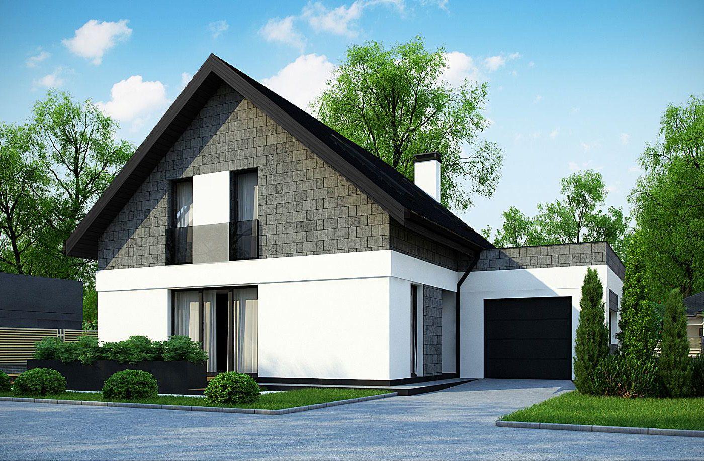 Dom Parterowy Z Poddaszem Użytkowym I Garażem Czarny Dach