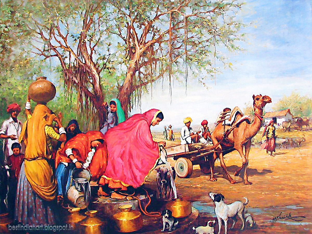 Rajasthani village a nice painting from india best - Art village wallpaper ...