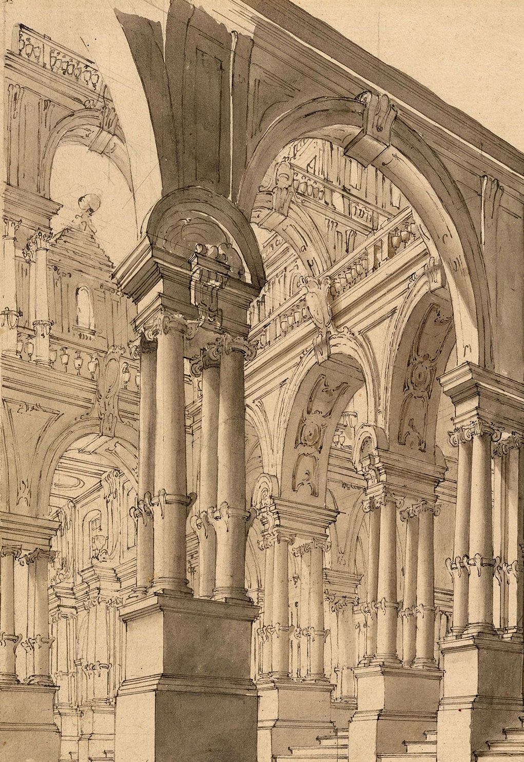 Giuseppe galli bibiena museums detail and architecture for Printing architectural drawings