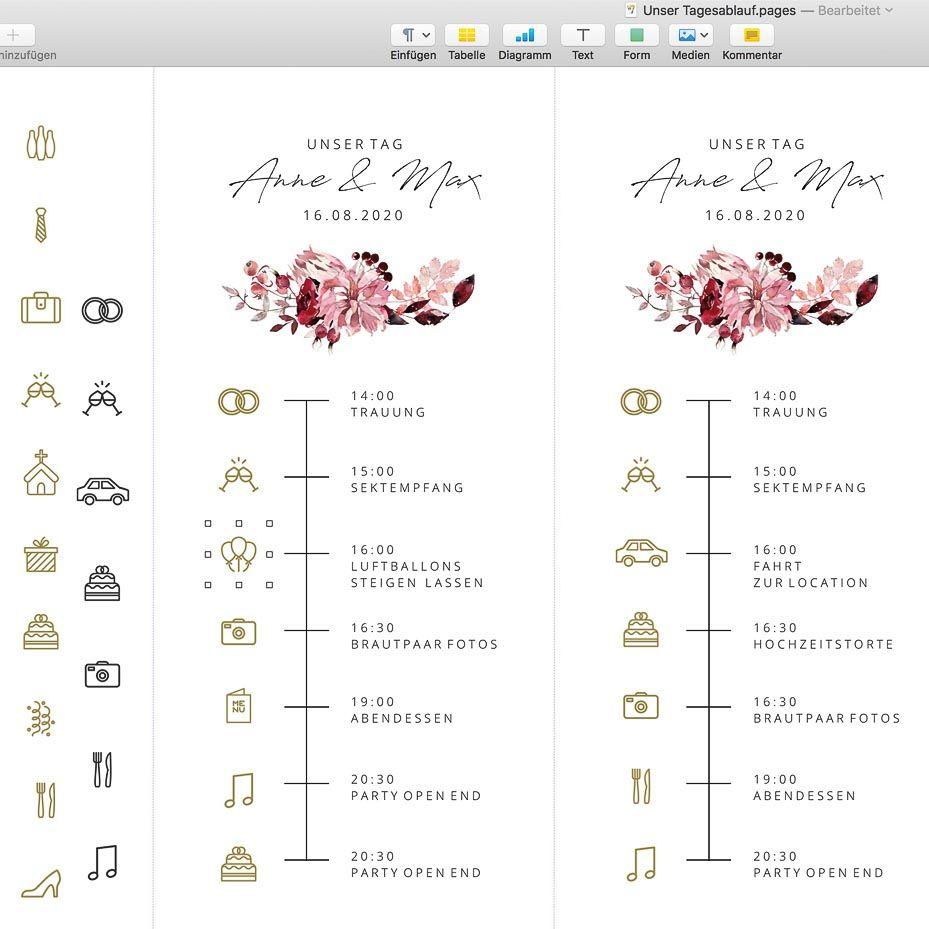 Timeline Hochzeit Icons Symbole Und Vorlage Zum Download In 2020 Hochzeit Tagesablauf Hochzeit Empfang