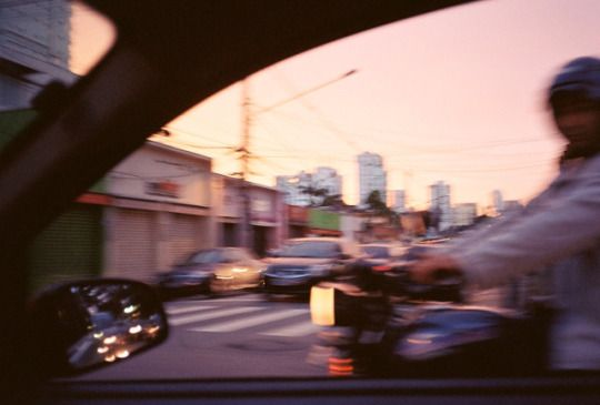 sunset / car window