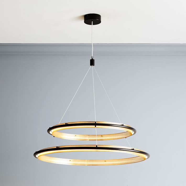 Perforated Double Led Chandelier 39 West Elm Led Chandelier Mobile Chandelier Chandelier