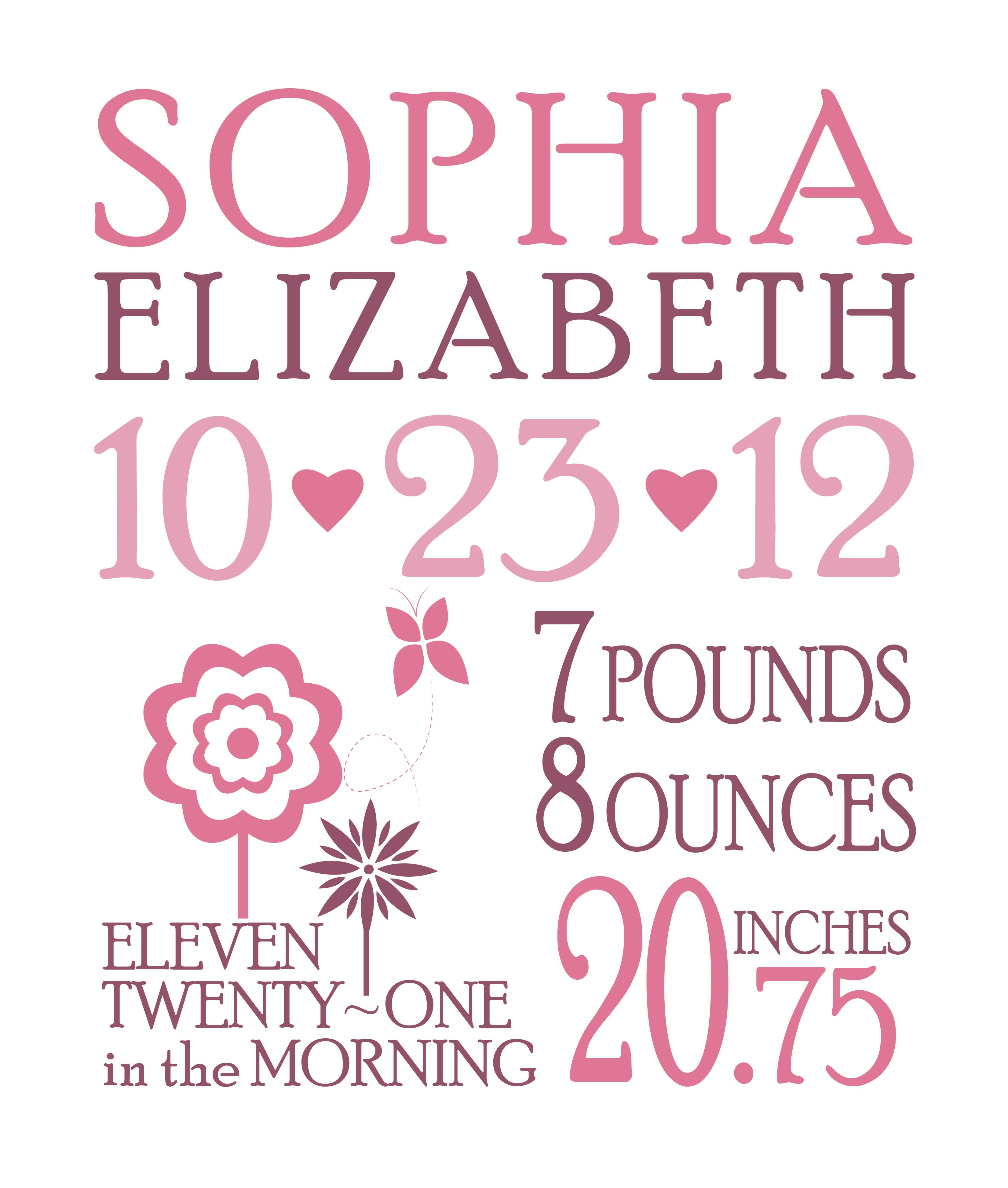 girl birth announcement totally customizable if interested email me at infojfdesignz