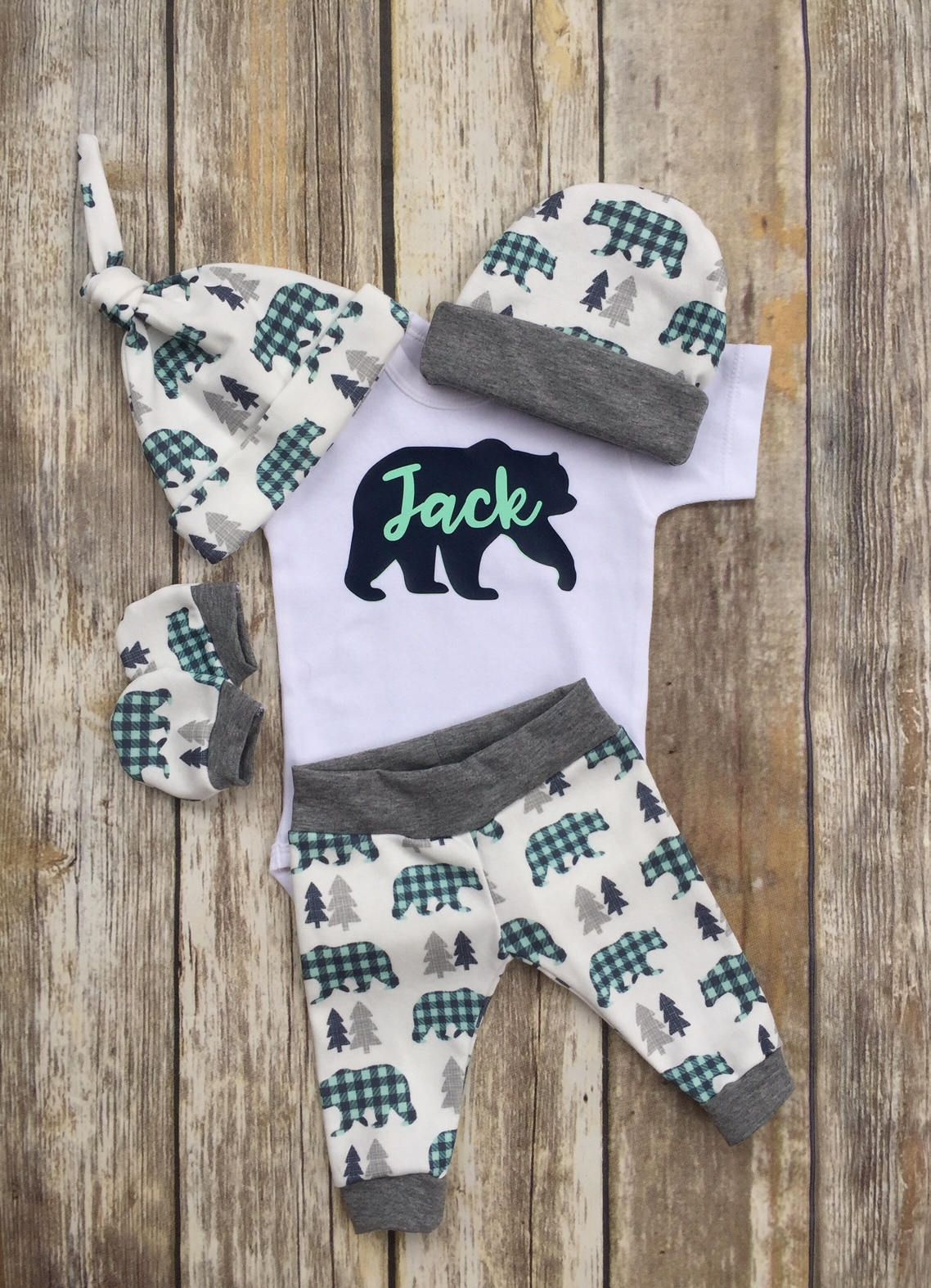 a031f06d1 Bear Plaid Boys Coming Home Outfit