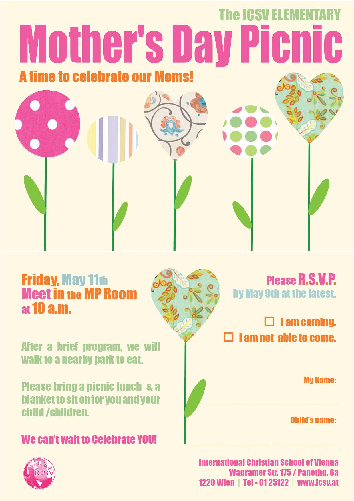 A5 Mother S Day Picnic Invitation Front Amp Back