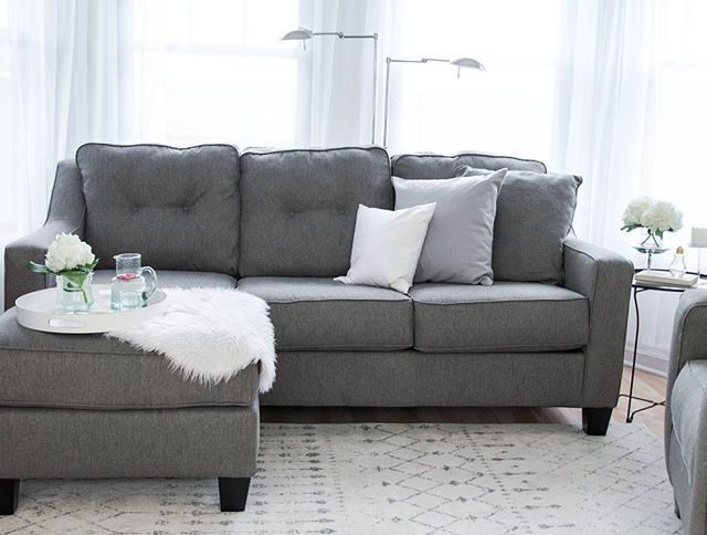 Shayla Sofa Chaise By Ashley Homestore Gray Polyester 100