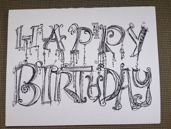 Happy birthday doodle card by rightbraindominant on etsy $1.25