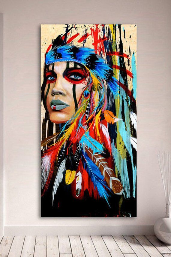 Portrait Canvas Art Wall Pictures For Living Room Indian Woman Feathered Pride Painting Home Decor Printed Wall Canvas Painting 3 Piece Canvas Art Canvas Painting
