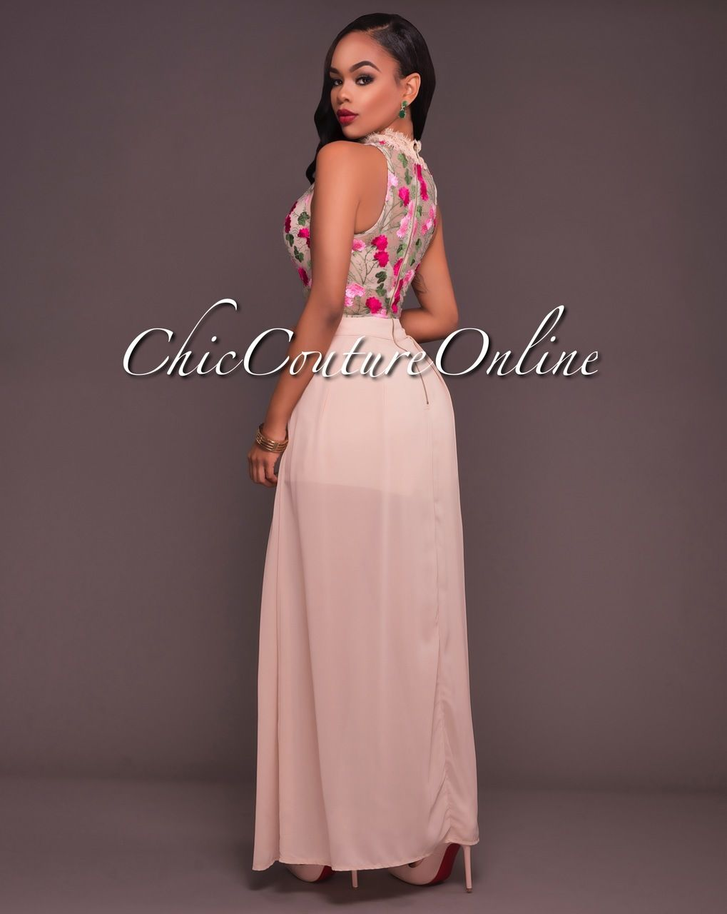 Sweet Escape Nude Sheer Top Romper Maxi Dress | Bellisima
