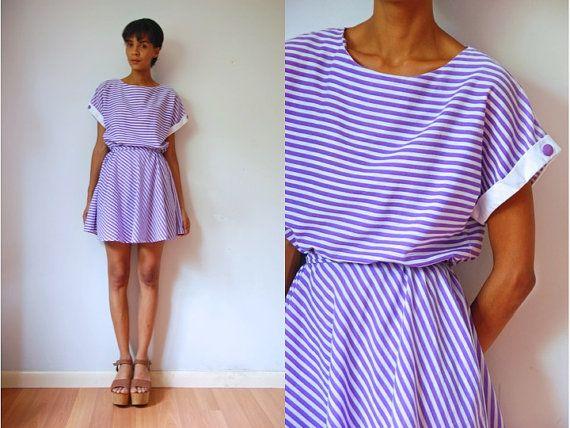 Vtg Retro Purple White Striped SS Light Cotton by LuluTresors, $29.99