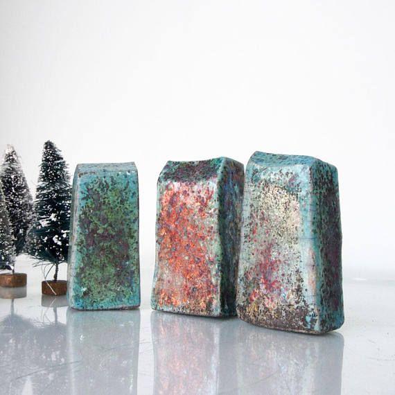 Set von 3 Raku-Keramik gebrannt Keramik Haus, Hand Sculputed Häuser ...