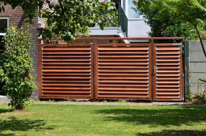 Lamellen tuinafscheiding licht en privacy naar behoefte te for Foto op hout maken eigen huis en tuin