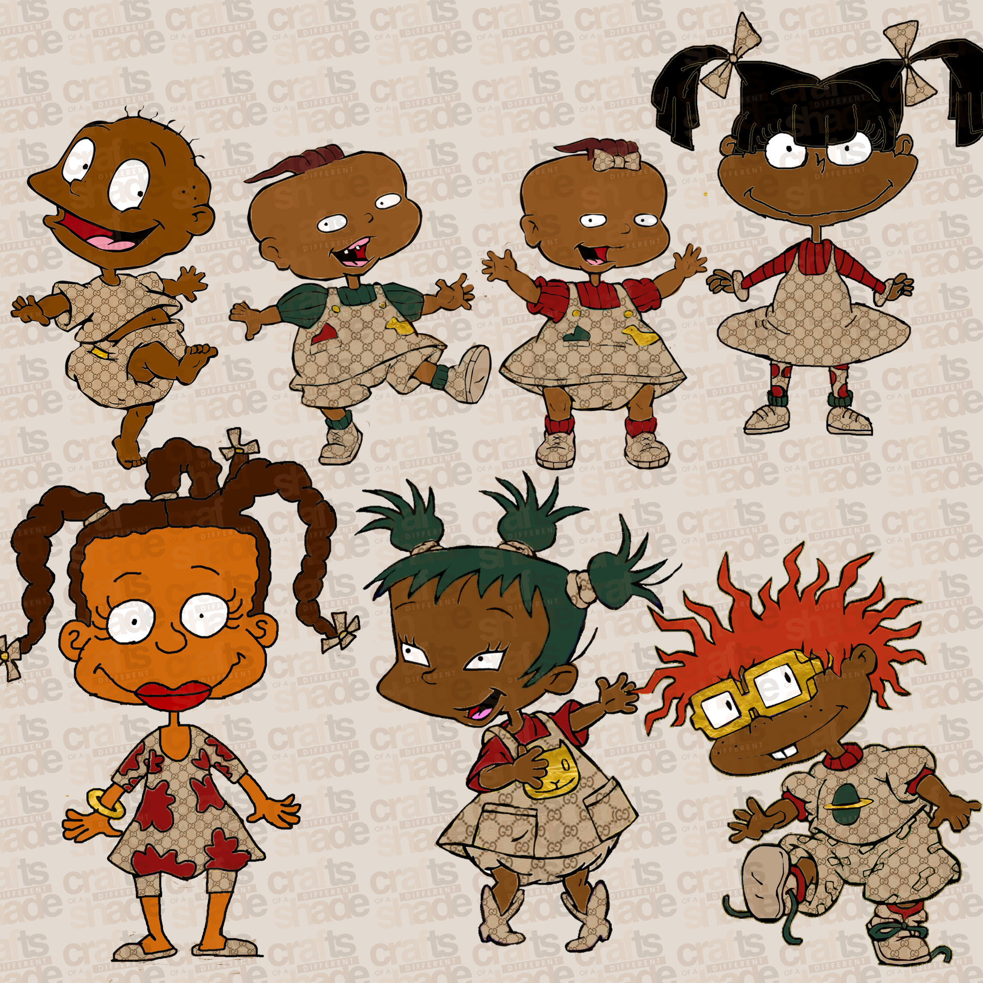 GUCCI INSPIRED RUGRATS MELANIN AFRICAN AMERICAN CLIPART