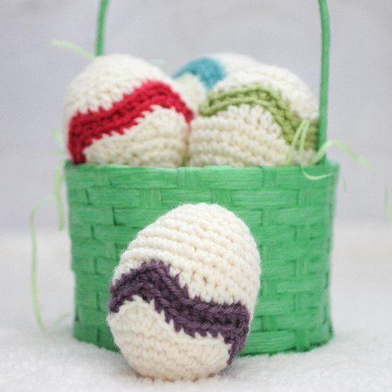Crochet Easter eggs with a fun chevron stripe! Perfect for filling ...