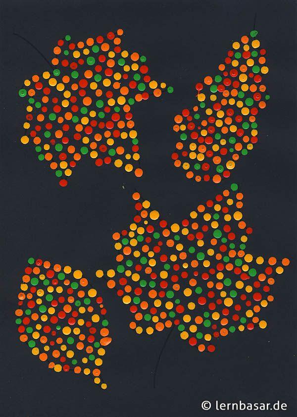 Dotpainting Herbstblätter | Kunst Farbkreis | Pinterest | Dot ...