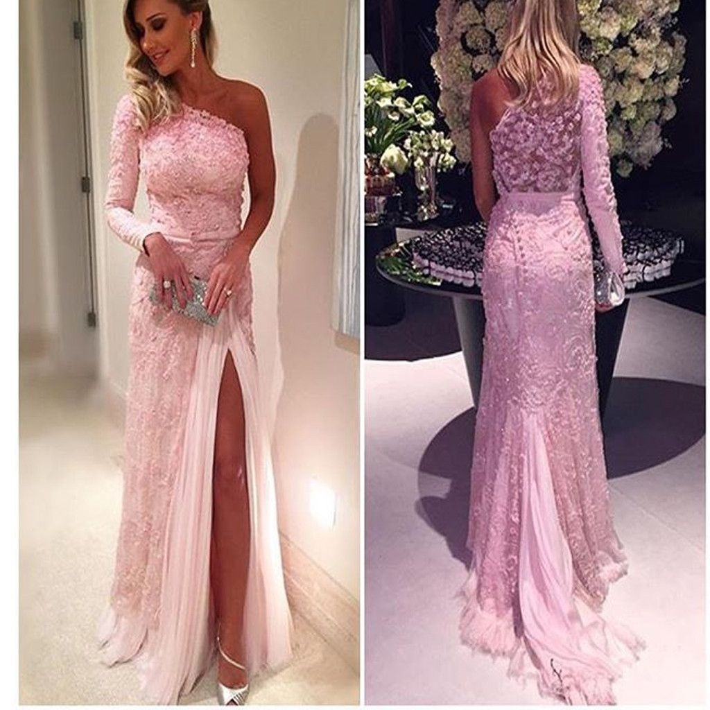 2017 Pink One Shoulder Appliques With Long Sleeves Lace Vintage Prom ...