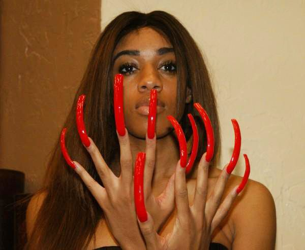 Black Girl With Extremely Long Natural Nails
