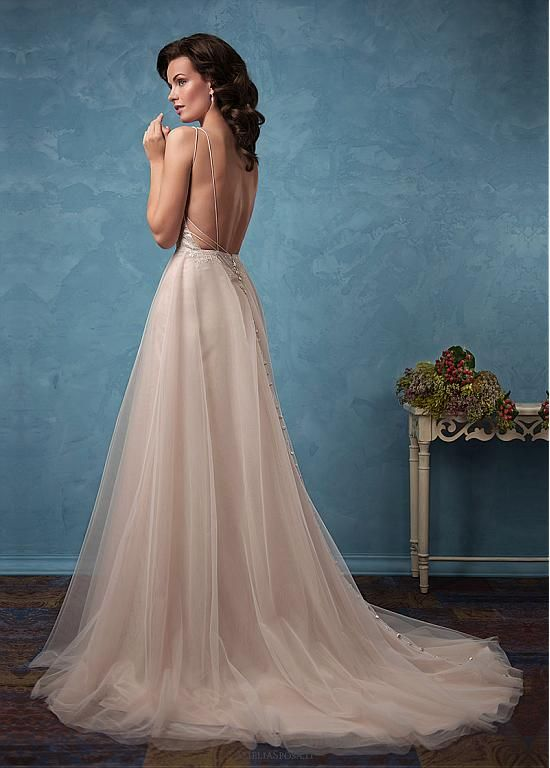Attractive Tulle & Satin Spaghetti Straps A-Line Wedding Dresses ...