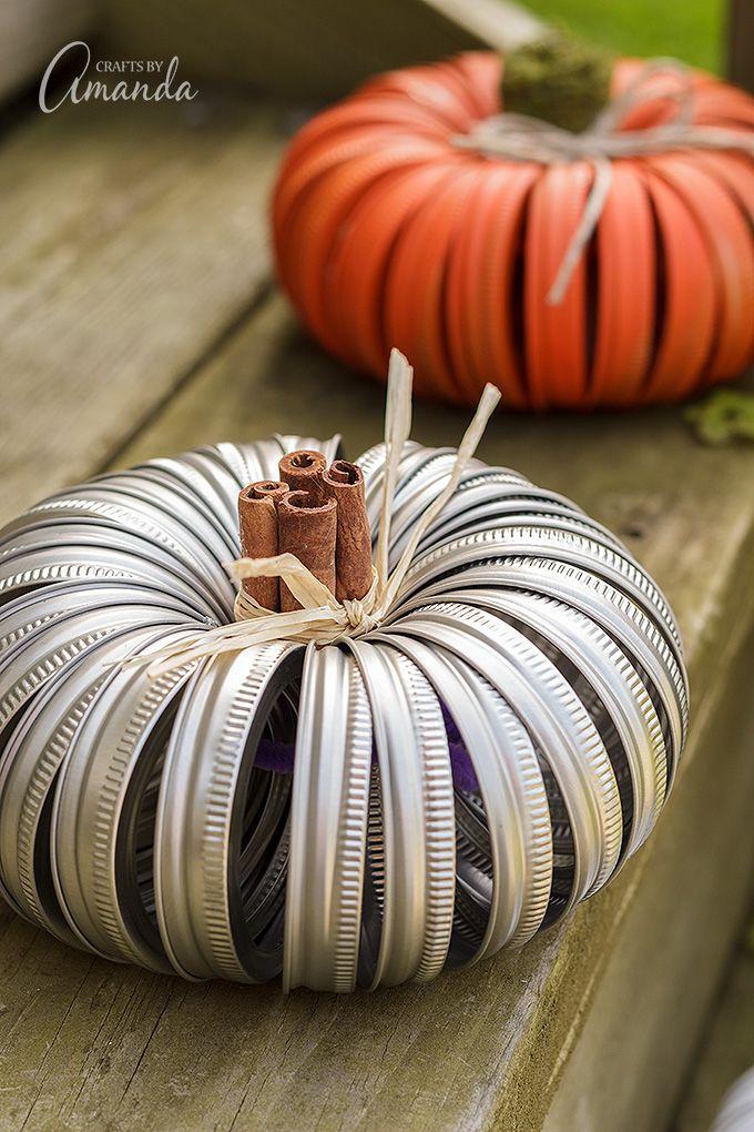 Mason Jar Lid Pumpkins Unique