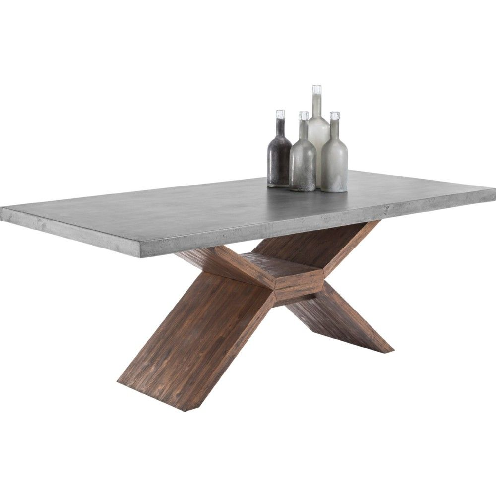 Sunpan Vixen Dining Table In Acacia Wood W/ Sealed Concrete Top
