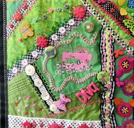 Detail  Green Block, 'Sewing' Crazy Quilt, ©Debra L. Dixon, 2013