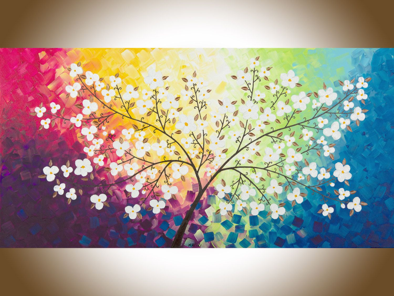 Grey pink flower wall art Colourful art Original painting