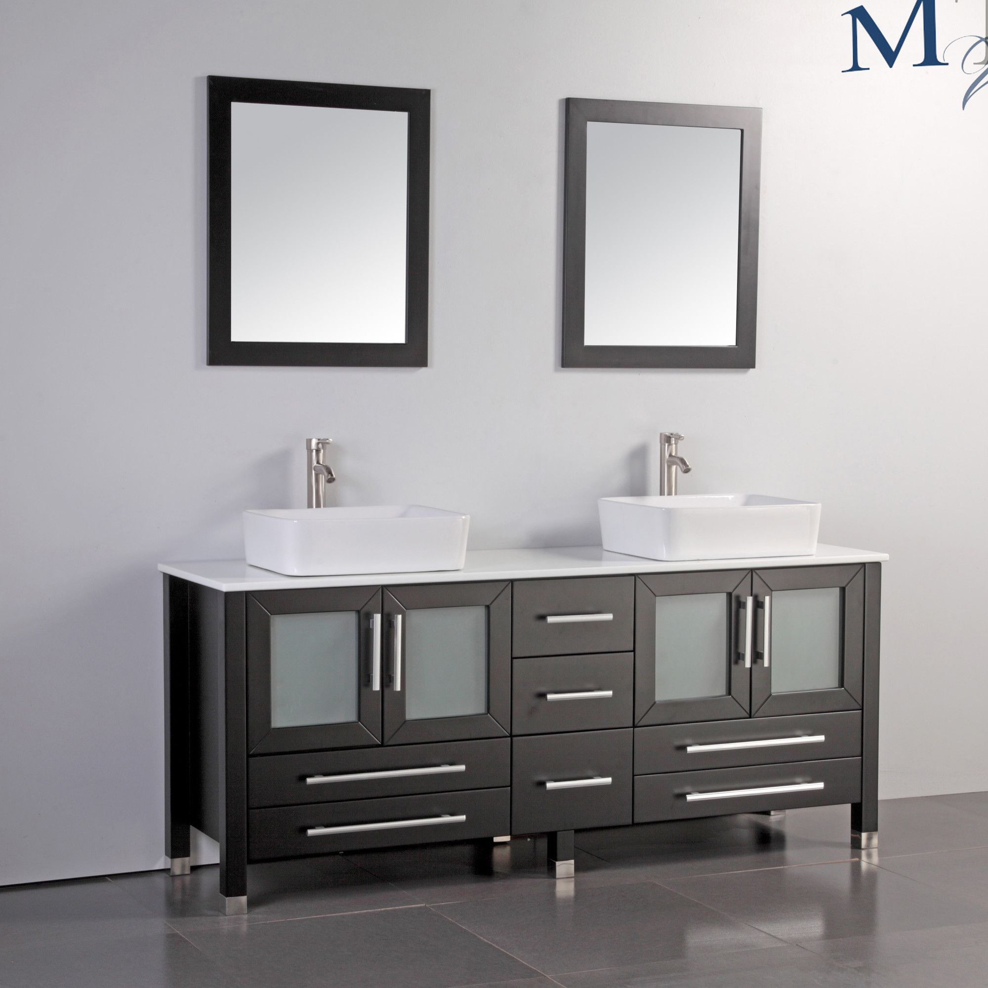 Wayfair Bathroom Vanity >> Malta 71 Double Sink Bathroom Vanity Set With Mirror