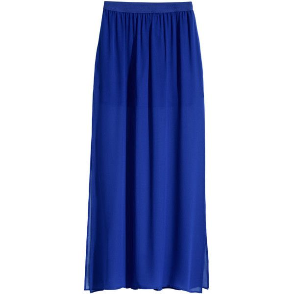 0071daae5 H&M Maxi skirt (8.67 AUD) ❤ liked on Polyvore featuring skirts, maxi skirt,  bright blue, blue chiffon maxi skirt, chiffon maxi skirt, elastic waist  skirt, ...