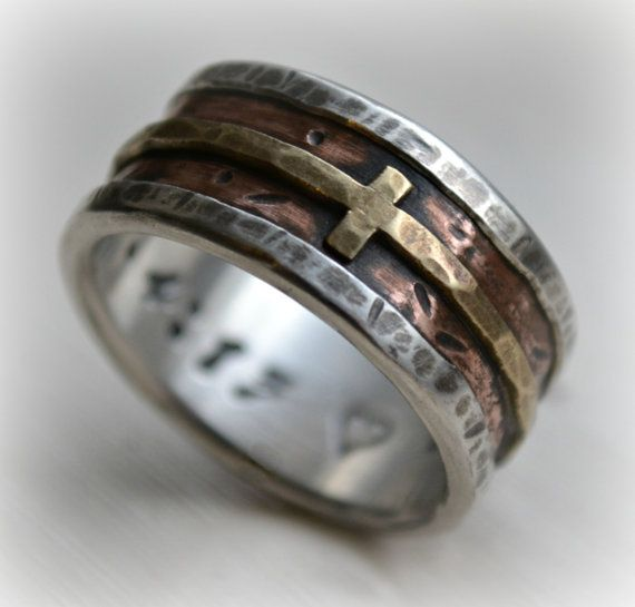 Mens Wedding Band Rustic Fine Silver Copper And Br Cross Handmade Designed Wide Ring Manly Customized
