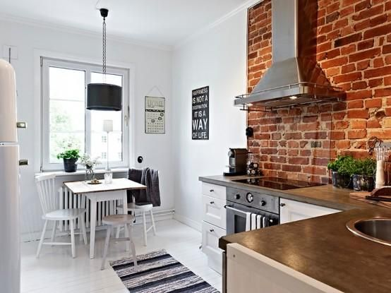 Captivating 15 Cool Kitchen Design With Exposed Brick Walls   Rilane