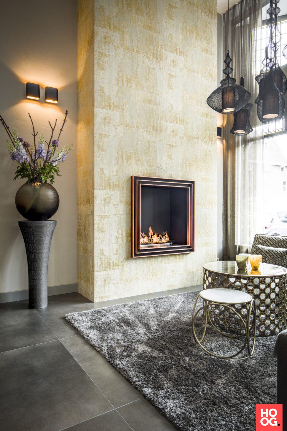 Woonkamer luxe met open haard | interieur ideeen | woonkamer ...