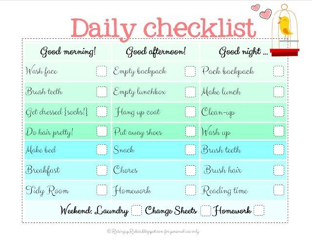 Daily Checklist For Kids Need This In My Life  For The Kiddies