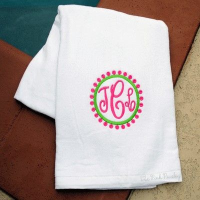 Preppy Circle Monogrammed Beach Towel Personalized Beach