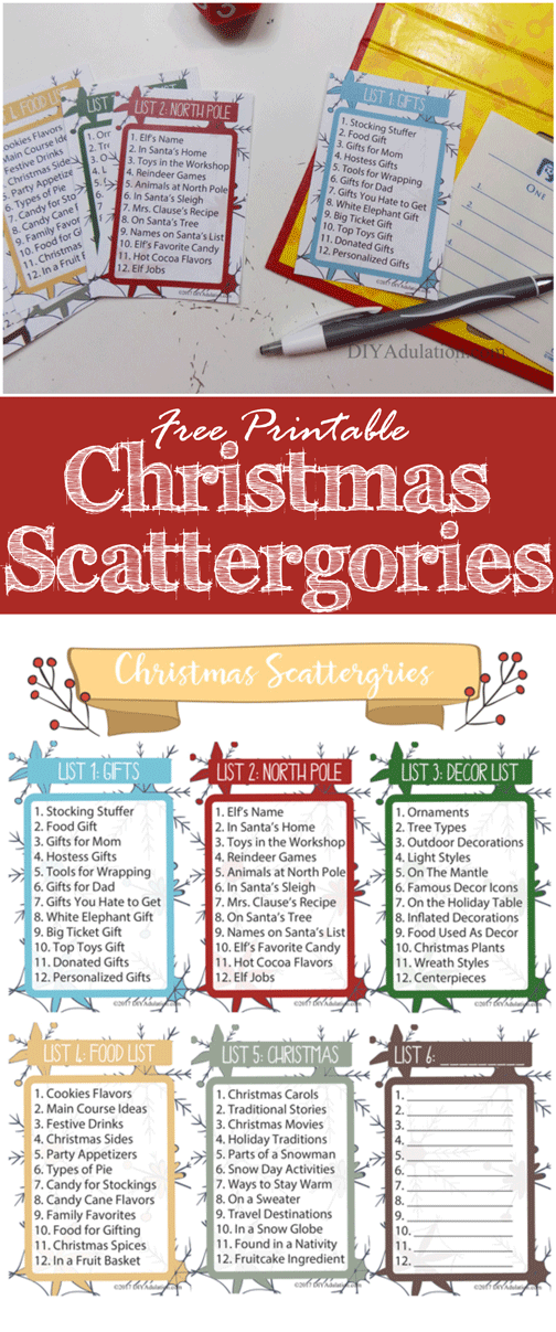 Free Printable Christmas Scattergories Game
