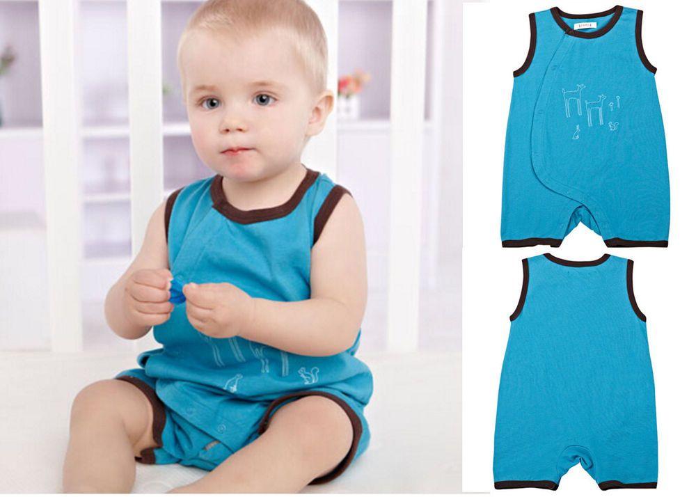 Newborn Infant Baby Boy Sleeveless Bodysuits Romper Jumpsuit Clothing 0-3M Blue #ibaby #Everyday