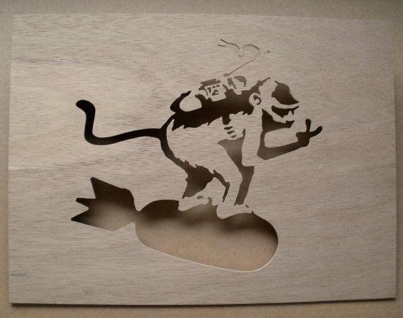 Banksy Monkey Riding Bomb Wooden Stencil by existencil on Etsy