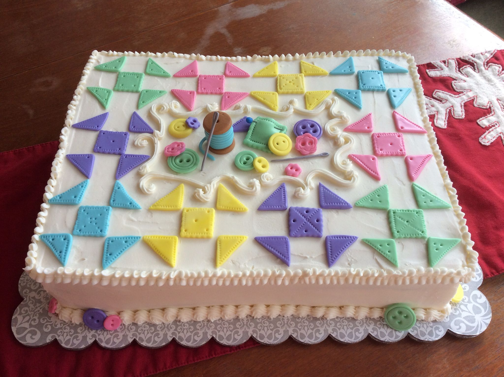 Quiltthemed cake for quilting guild Christmas Party. Half